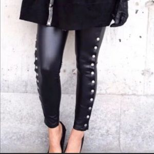 Romeo & Juliet Faux Leather Studded Skinny Pants